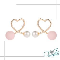 【伊飾童話】愛心粉珍珠*流線交錯鏤空耳環