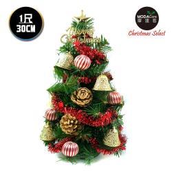 摩達客 台灣製迷你1呎/1尺(30cm)裝飾綠色聖誕樹(金鐘糖果球系)(免組裝)