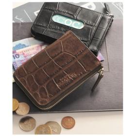 mieno [MiaBorsa]クロコダイル型押しレザーカード&コインケースパスケースメンズ ダークブラウン