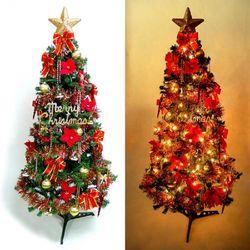 摩達客 超級幸福15尺/15呎(450cm)一般型裝飾綠聖誕樹  (+紅金色系配件組+100燈鎢絲樹燈12串)