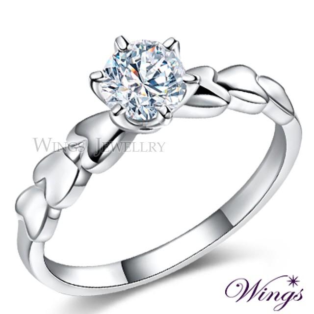 Wings 心的約定 八心八箭擬真美鑽925純銀精鍍白K金戒指 女戒