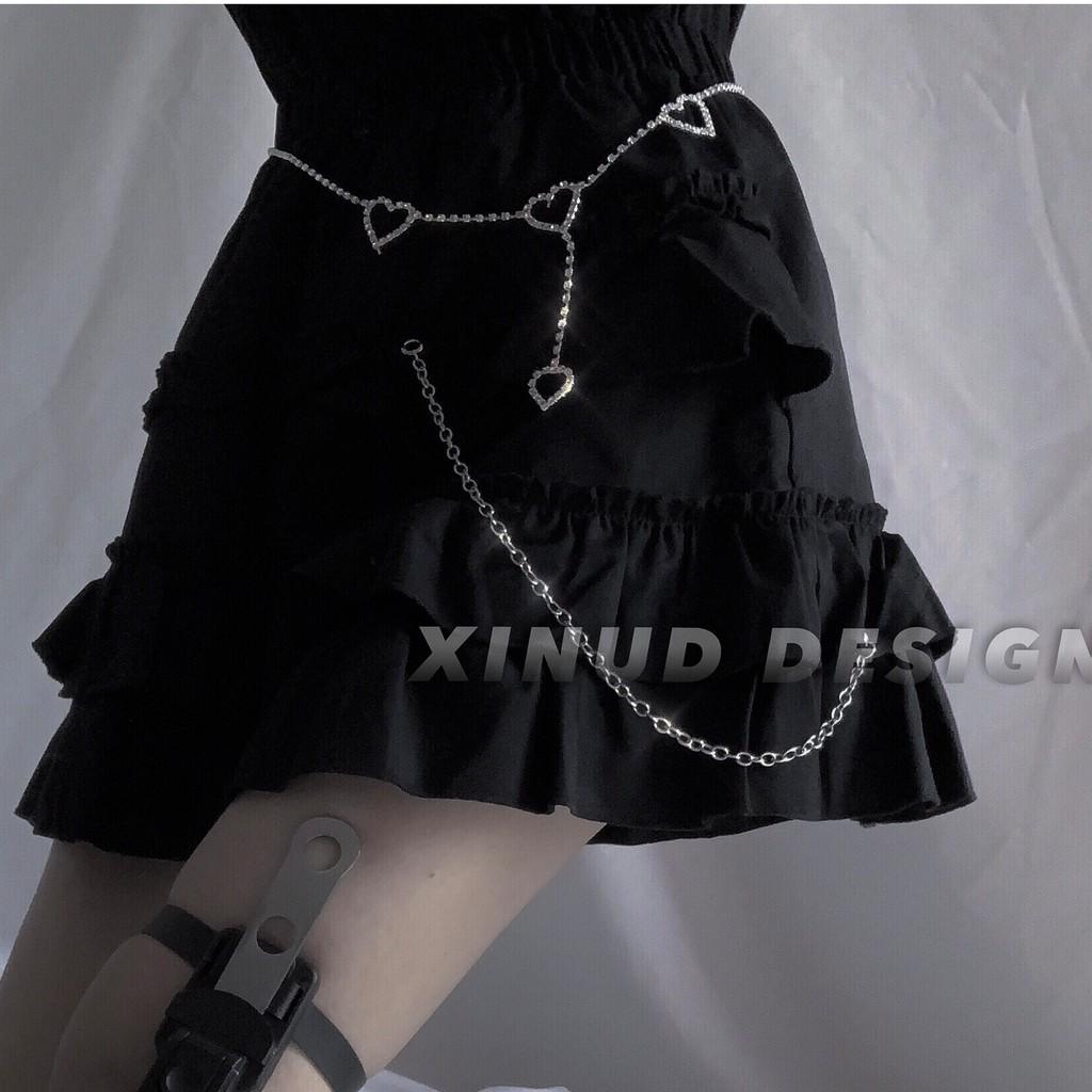 sexy 性感女孩 腰帶 腰鏈80S 愛心蹦迪閃鑽配飾