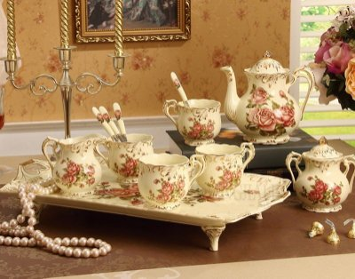 【奇滿來】歐式陶瓷 高檔玫瑰圖樣茶具 英式下午茶餐具 八件組 咖啡廳 庭園下午茶 咖啡杯壺 托盤 新春喬遷送禮 ADDK
