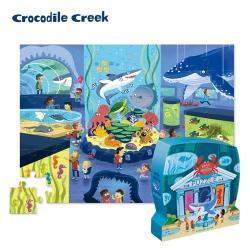 美國Crocodile Creek  博物館造型盒學習拼圖48片-海生館