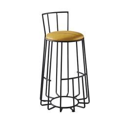 【AT HOME】工業風設計圓形鳥籠仿舊黃皮低椅背吧台椅(39*39*92cm)尼克森