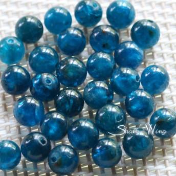 天然石 ディープブルーアパタイト ラウンド約6 6.3mm☆5粒