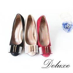 【Deluxe】優雅水晶點綴金屬層次包頭高跟鞋(黑)-D3-1A