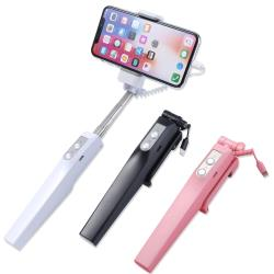 DIVI 新款美型!! APPLE iPhone X iPhone8 Plus iPhone8 美顏補光後視鏡 線控自拍棒 自拍伸縮棒