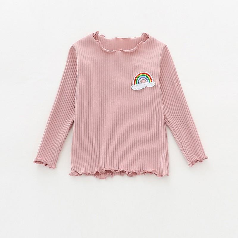女童木耳边T恤女寶寶素色百搭打底衣兒童坑條純棉繡花上衣 四色可選