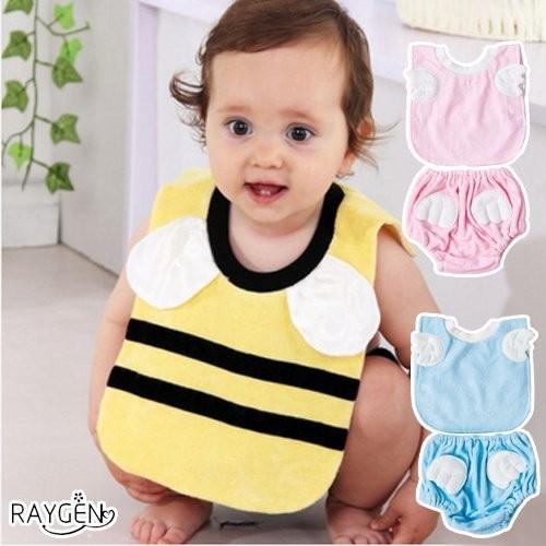 天使 小蜜蜂 圍嘴 圓領圍兜 短內褲套裝 高檔竹纖維 口水巾