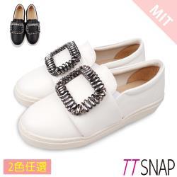 TTSNAP厚底樂福鞋-MIT方形水鑽牛紋真皮休閒鞋 黑/白
