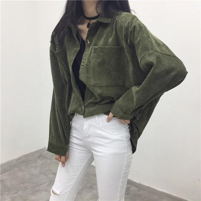 [現貨]素面襯衫 綠色白色薄款燈芯絨 oversize寬鬆大尺碼 學生外套免運