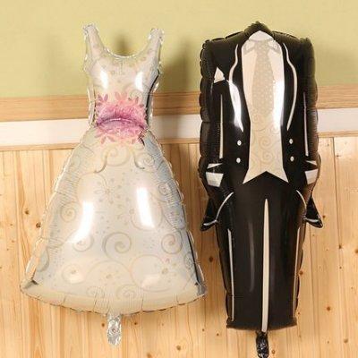 【氣球批發廣場】婚紗西裝鋁箔氣球新娘新郎禮服錫箔氣球婚禮裝飾佈置 婚紗照情人節求婚