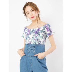 Tシャツ - CECIL McBEE 花柄シャーリングTOPS