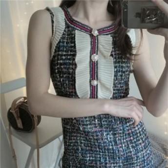 夏ワンピース 可愛い 夏ワンピース レディース 韓国 オルチャン ファッション ミディ丈スカート 春服 夏服 ツイード ワンピース お呼ばれ