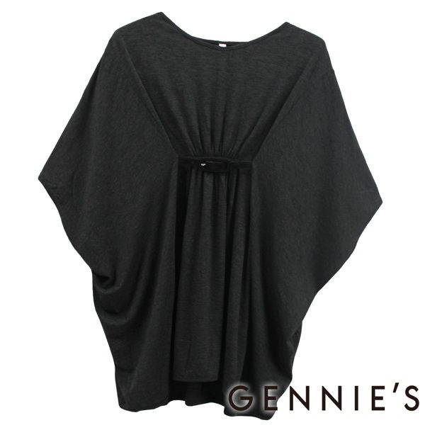 【Gennie's奇妮】輕柔知性極彈素面春夏孕婦上衣-深灰(G3185)