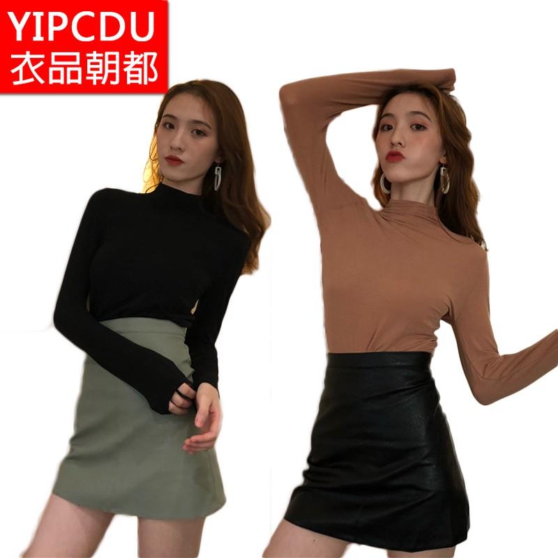 女生上衣 長袖T恤 素面上衣 高領上衣 合身打底衫 女生衣著 韓版chic基本款百搭顯瘦高領素色打底衫t恤女