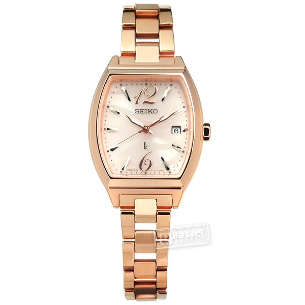 SEIKO 精工 / LUKIA 太陽能不鏽鋼手錶 銀粉x鍍玫瑰金 / V137-0CE0V / 26mm