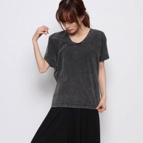 ジーラ GeeRAデニム風ドルマンTシャツ (ブラック)