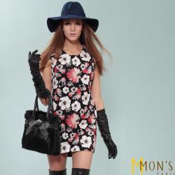 MONS法式典雅圓領印花洋裝