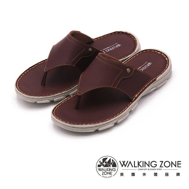 【WALKING ZONE】涼夏必備 夾腳拖鞋 男鞋-棕(另有藍)
