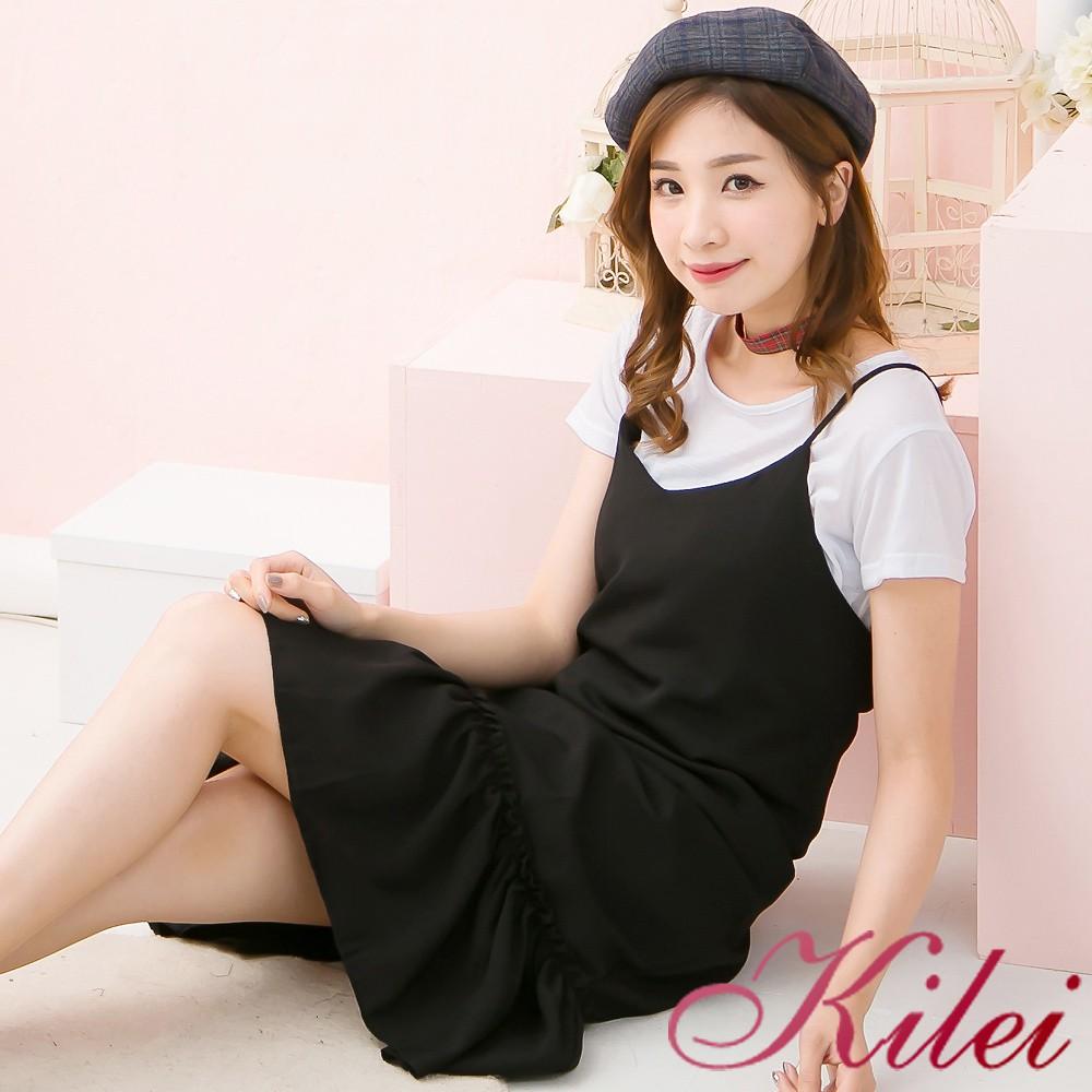 【Kilei】簡約短袖T恤上衣+荷葉擺造型細肩帶洋裝兩件式XA3811-02(自在黑)大尺碼