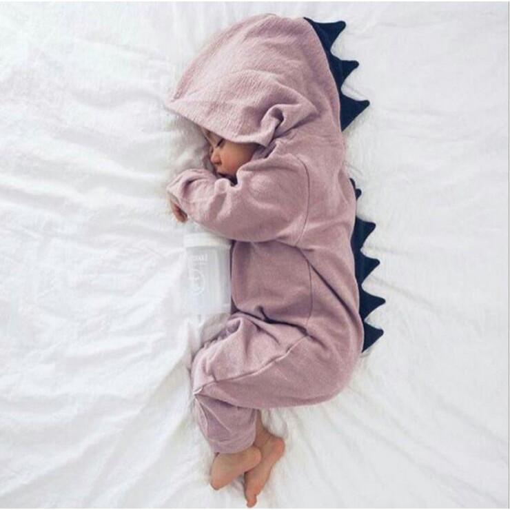 母嬰 童 新款童鞋嬰幼童ins爆款童裝 兒童哈衣春款嬰兒連體服可愛恐龍爬服