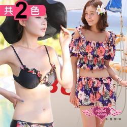 天使霓裳 綻放花季 四件式鋼圈比基尼泳衣(共兩色M~XL) EE6608