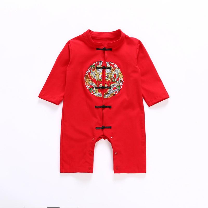 嬰兒周歲過年喜慶連體純棉哈衣 長袖 短袖
