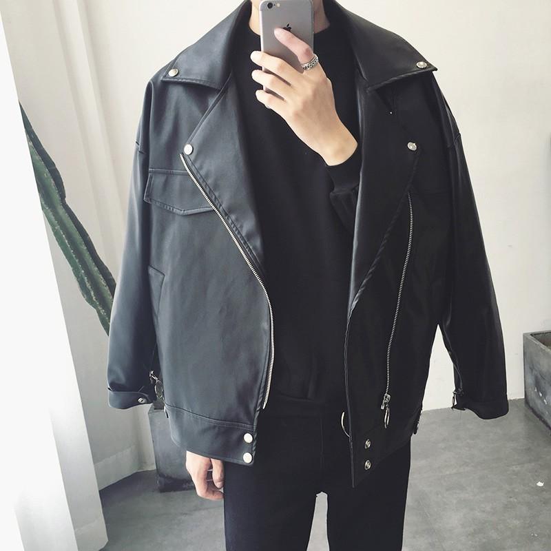 M-4XL新款黑色百搭機車PU皮衣 韓版寬鬆落肩oversize男女可穿防風皮外套 個性潮流飛行夾克 教練外套 男生衣著