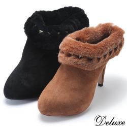 【Deluxe】真麂皮性感毛料絨毛個性鉚釘裸靴(黑-咖)-0930-2