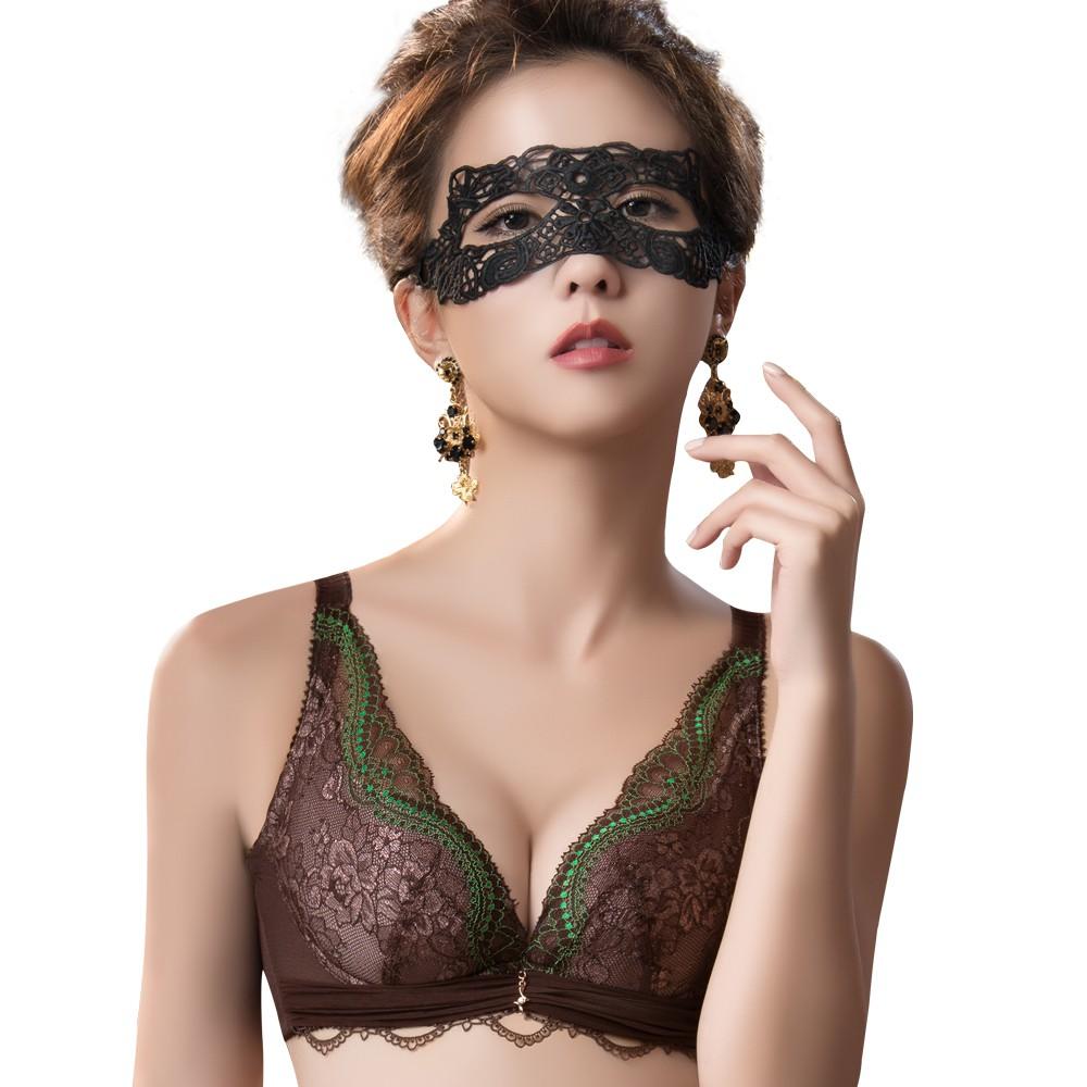 SWEAR 思薇爾 薔薇魅影系列B-E罩蕾絲包覆內衣(深可可)