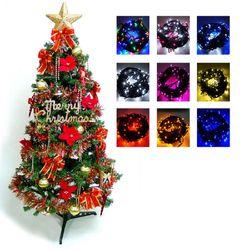 摩達客 幸福6尺/6呎(180cm)一般型裝飾綠聖誕樹  (+紅金色系配件)+100燈LED燈1串(附控制器跳機)