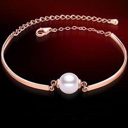 【米蘭精品】玫瑰金珍珠純銀手鍊優雅氣質時尚