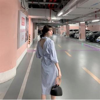 【新作限定 】 韓国ファッション/CHIC気質/おしゃれな/トレンド/新品/ボーダー/スプリット/背透けて/Vネック/シャツワンピ