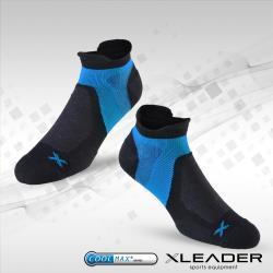 LEADER ST-02 男款X型繃帶 加厚耐磨避震短襪  黑藍