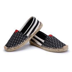 Alice 小星星黑粗條草編休閒帆布鞋