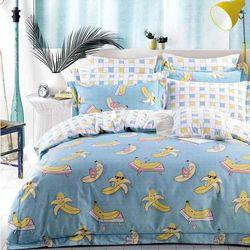 【Betrise】香蕉達人-環保印染德國防螨抗菌精梳棉四件式兩用被床包組-特大