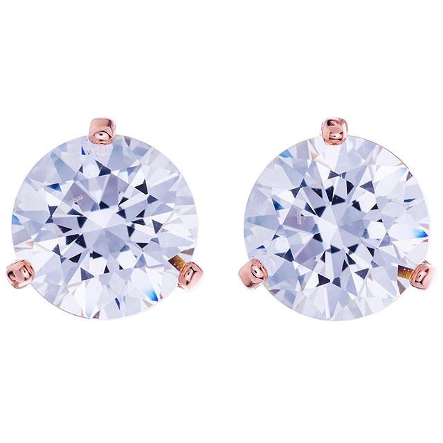 奧地利【SWAROVSKI】三爪玫瑰金水晶耳環