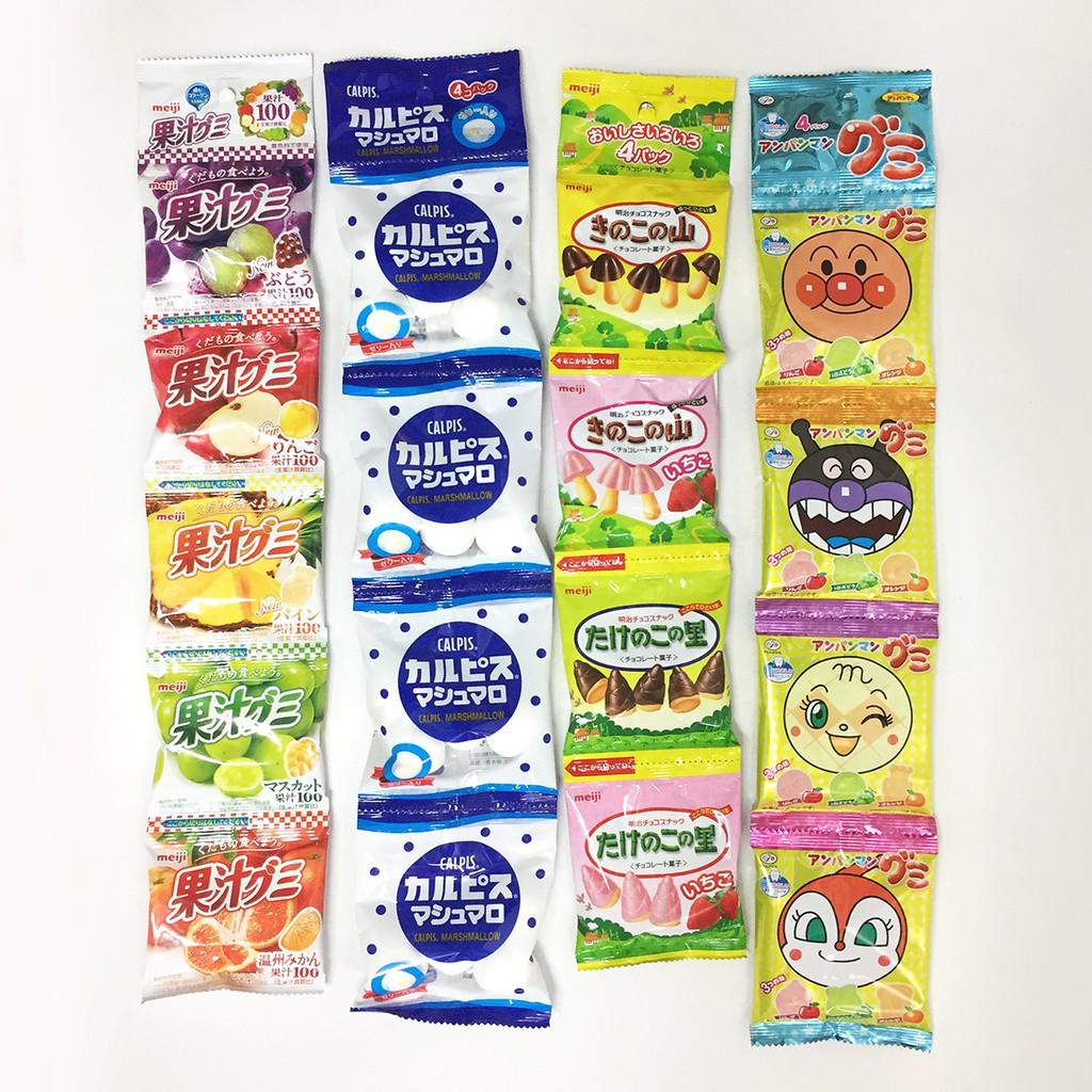連袋點心 - meiji果汁QQ軟糖 / 不二家麵包超人軟糖 / 可爾必思夾心棉花糖 / 香菇山&竹筍村巧克力餅乾