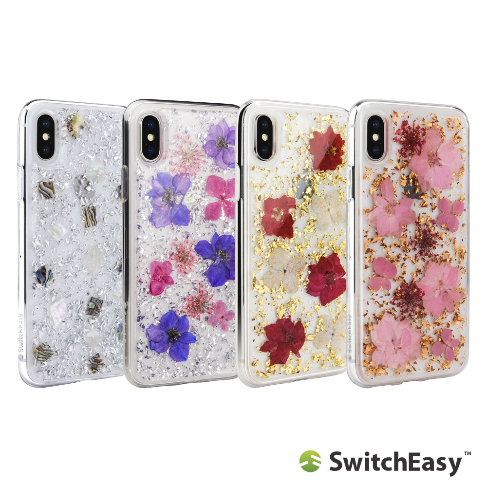 SwitchEasy iPhone Xs / X 5.8吋 Flash 碎貝殼/真花金箔 防摔保護套