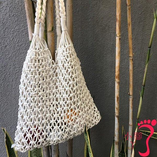 手提包 泫雅同款漁網縷空草編包韓風chic手工編織沙灘度假手提單肩包女包