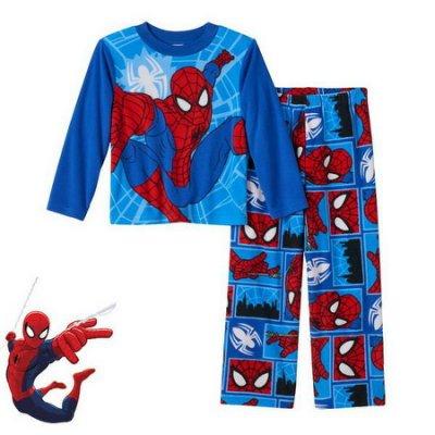 出口美國SPIDER MAN蜘蛛人藍底跳躍款搖粒絨長袖睡衣套裝(120CM適用)官網同步