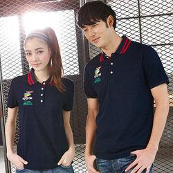 【LEIDOOE】黑底線條領休閒女款短袖POLO衫16639