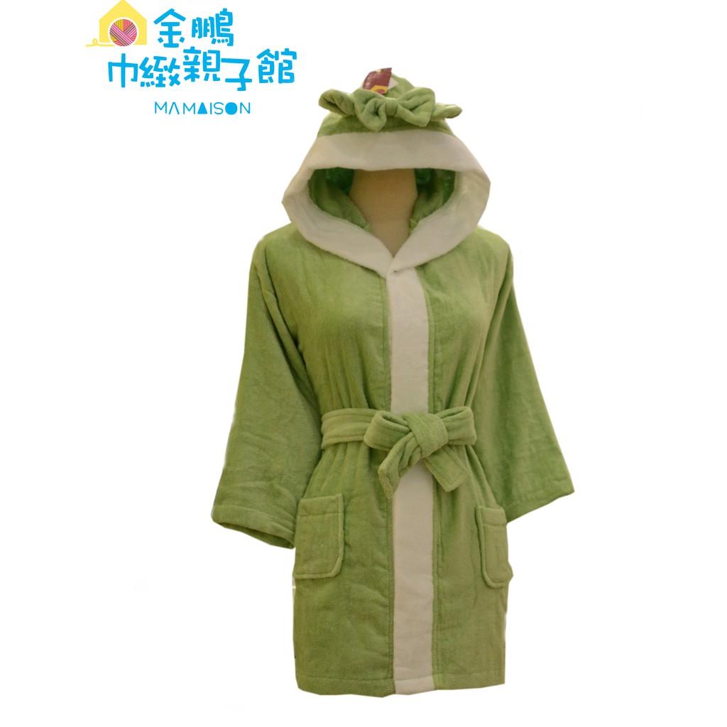 永鵬(金鵬)毛巾〔台灣製〕寶貝絨面連帽浴袍/小童-幸運草綠