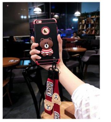 〈韓國直送代購〉66104 I Phone 8 韓國熊大 手機殼 個性黑軟膠 紅邊金屬框 附掛繩 買就送 專屬鋼化膜