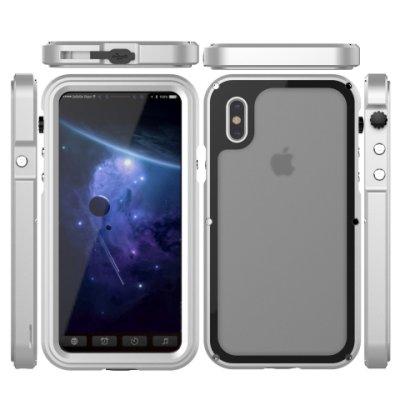 i Phone X-7-8 Plus銀色SEAL-IP68全防水☆防摔鋁合金屬邊框背蓋手機殼保護殼+