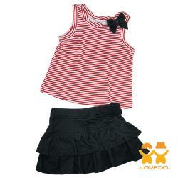 LOVEDO-艾唯多童裝 休閒紅白條紋 兩件組套裝(紅) GSH13140