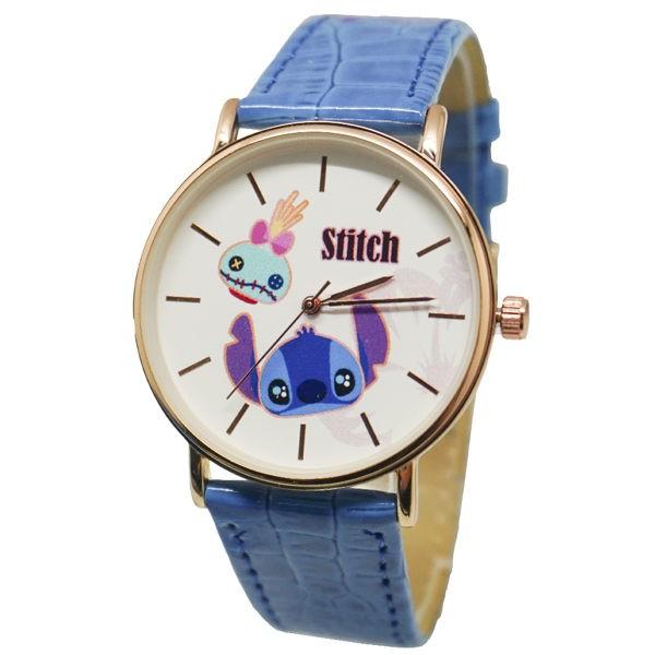 迪士尼原裝 史迪奇玫瑰金皮帶手錶