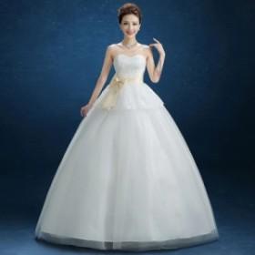 新品ウエディングドレス 花嫁ドレス ホワイト 二次会ドレス  結婚式パーティードレス 発表会 演奏会 ステージドレス サイズS-3XL